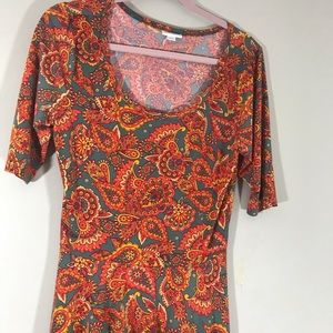 LuLaRoe Nicole paisley orange & green dress large
